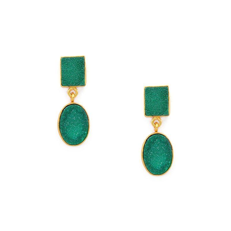 Pendientes largos piedras en verde